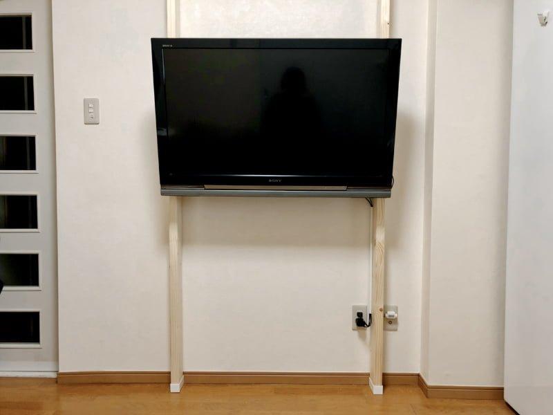 賃貸だけど壁掛けテレビに!ラブリコと2×4材で簡単DIY