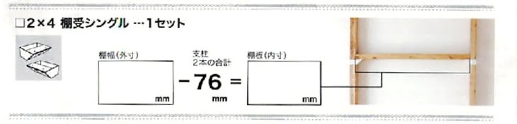 ラブリコ棚受けシングルで準備する2×4材の長さ